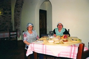 The cooks take a rest in the dining room of Sant 'Elia B&B